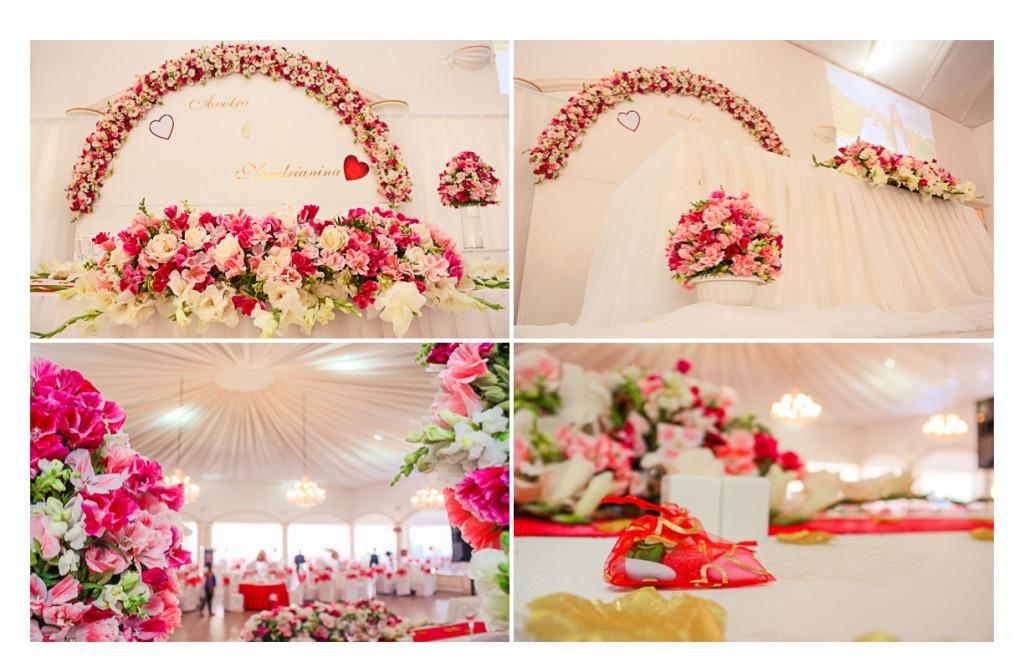 Mariage-Espace-Colonnades-décoration fleurs-Avotra & Nandrianina
